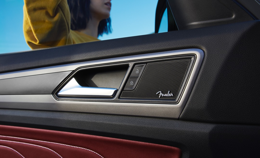 Close-up of the Fender® Premium Audio System featured in the Atlas Cross Sport.