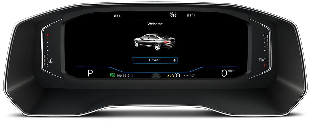 Volkswagen Digital Cockpit Driver Personalization view