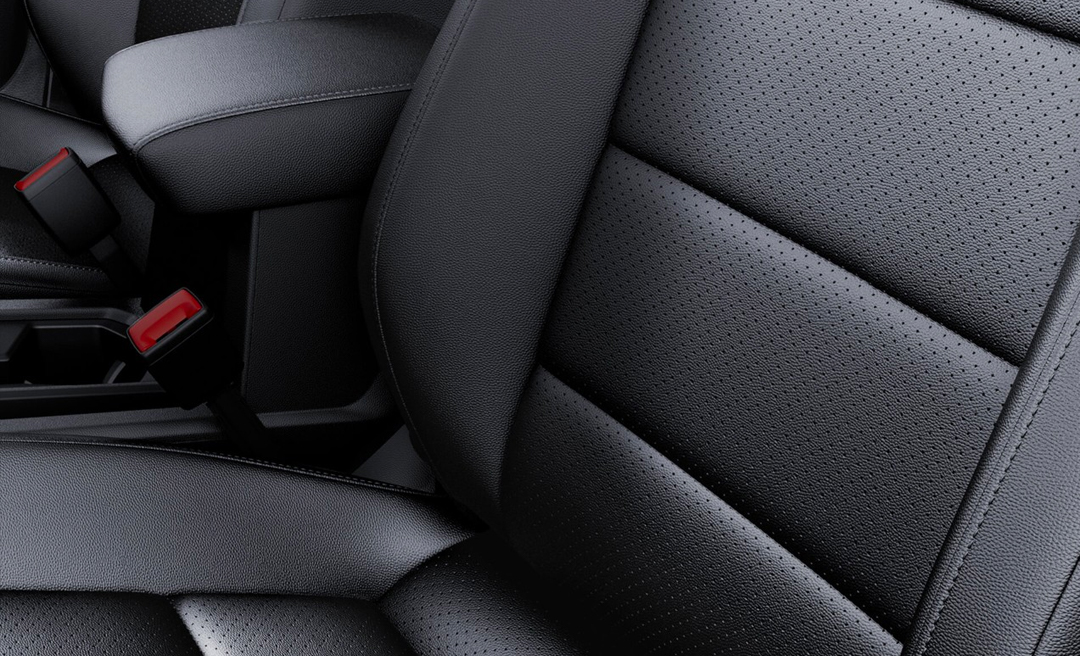 Available V-Tex leatherette seat in Titan Black closeup