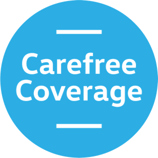 A blue circular badge with the words 'Carefree Coverage' in the middle